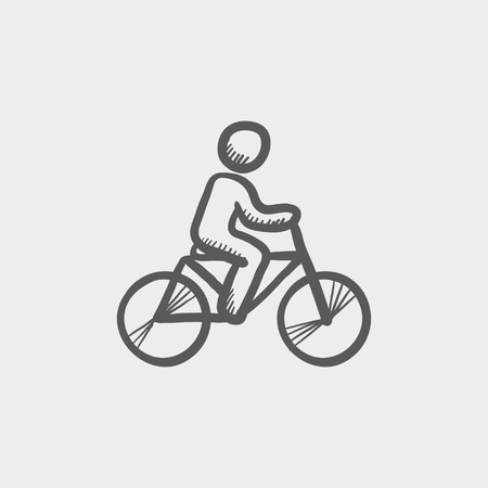 rural road: Racing bike sketch icon for web and mobile. Hand drawn vector dark grey icon on light grey background.