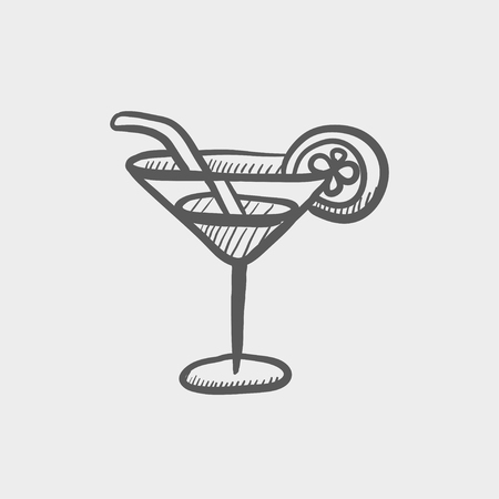 margarita drink: Margarita drink sketch icon for web and mobile. Hand drawn vector dark grey icon on light grey background.