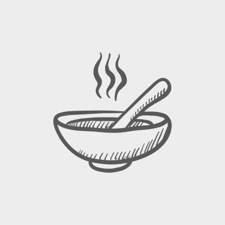 broth: Bowl of hot soup with spoon sketch icon for web and mobile. Hand drawn vector dark grey icon on light grey background.