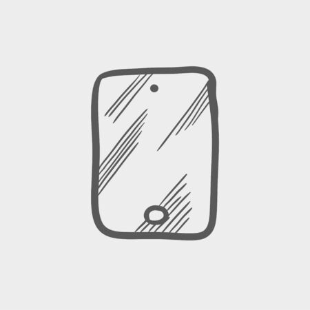 smartphone hand: Smartphone sketch icon for web and mobile. Hand drawn vector dark grey icon on light grey background.