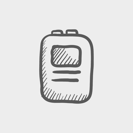 cardioverter: Heart defibrilliator sketch icon for web and mobile. Hand drawn vector dark grey icon on light grey background.