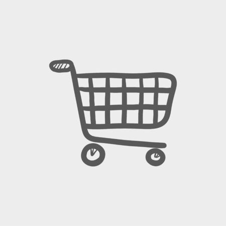 Shopping cart sketch icon for web and mobile. Hand drawn vector dark grey icon on light grey background.