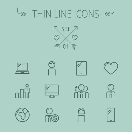 Technology thin line icon set for web and mobile. Set includes - laptop, monitor,video global, smartphone, heart. Modern minimalistic flat design. Vector dark grey icon on grey background 向量圖像