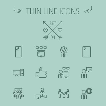 computer cpu: Technology thin line icon set for web and mobile. Set includes - Mobile phone, gadget, computer, CPU, global thumbs up, presentation. Modern minimalistic flat design. Vector dark grey icon on grey background.