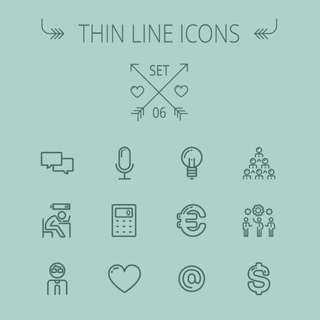 thin bulb: Business thin line icon set for web and mobile. Set includes- calculator, euro, dollar, heart, bulb, speech bubble, tired man, microphone icons. Modern minimalistic flat design. Vector dark grey icon on grey background.