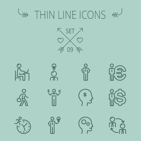 Business thin line icon set for web and mobile. Set includes-head, Euro, US dollar, clock, head, laptop, bulb, businessman icons. Modern minimalistic flat design. Vector dark grey icon on grey background. Illustration