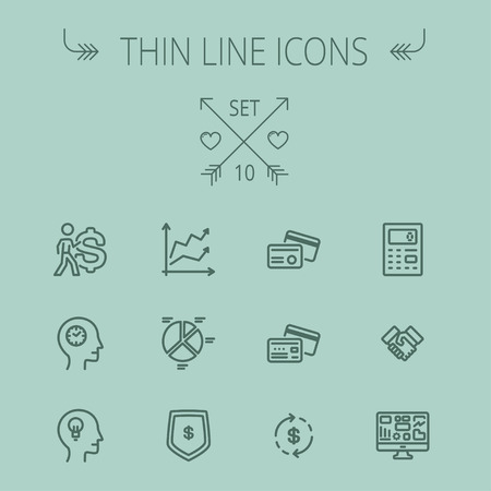 dollar symbol: Business thin line icon set for web and mobile. Set includes- graph, chart, pie graph, dollar symbol, cards, handshake, calculator, monitor icons. Modern minimalistic flat design. Vector dark grey icon on grey background.