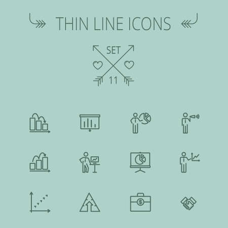 flat screen: Business thin line icon set for web and mobile. Set includes- money bag, graph, roller screen, business presentation, pie chart icons. Modern minimalistic flat design. Vector dark grey icon on grey background.