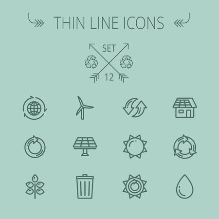 Ecology thin line icon set for web and mobile. Set includes- recycle, sun, water drop, garbage bin, windmill, leaves, global, solar panel icons. Modern minimalistic flat design. Vector dark grey icon on grey background. Illustration