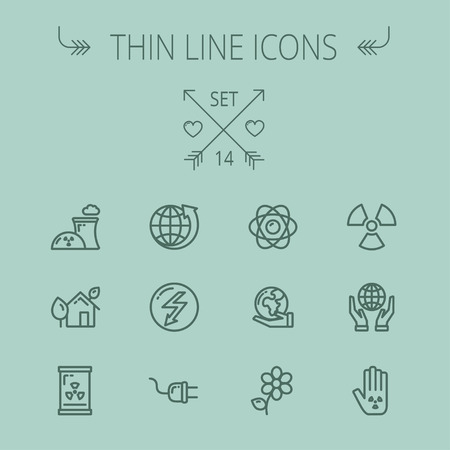 Ecology thin line icon set for web and mobile. Set includes - Global, flower, nuclear, atom, plug, plant icons. Modern minimalistic flat design. Vector dark grey icon on grey background.