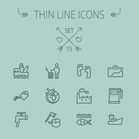 garbage bin: Ecology thin line icon set for web and mobile. Set includes-gasoline pump, fish, ship, garbage bin,watering can, faucet, global icons. Modern minimalistic flat design. Vector dark grey icon on grey background.