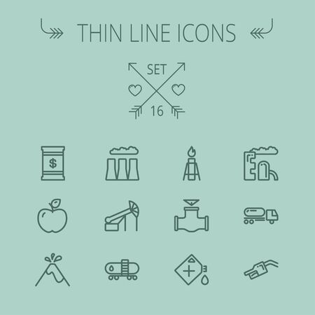 gas tank: Ecology thin line icon set for web and mobile. Set includes- gas tank, truck, nozzle, container, pipe, valve, volcano, candle, factory, apple icons. Modern minimalistic flat design. Vector dark grey icon on grey background. Illustration
