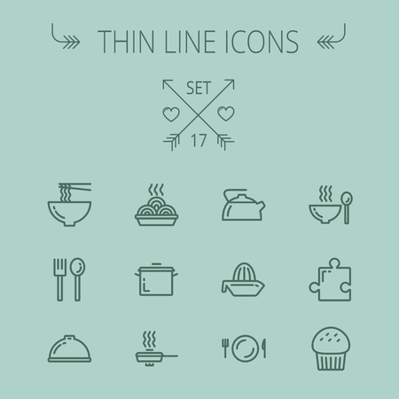 casserole: Food thin line icon set for web and mobile. Set includes- cupcakes, spoon and fork, plate, kettle, casserole, hot meal, frying pan icons. Modern minimalistic flat design. Vector dark grey icon on grey background.
