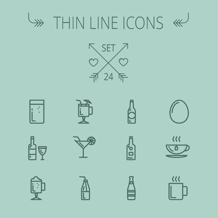 Food and drink thin line icon set for web and mobile. Set includes- coffee, soda, lime, egg, bottle, cocktail drink, glass, wine glass icons. Modern minimalistic flat design. Vector dark grey icon on grey background.
