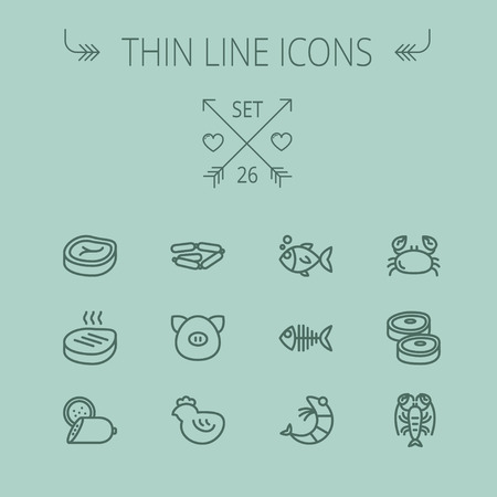 appetizers: Food and drink thin line icon set for web and mobile. Set includes- steak, sausages, fish, crab, shrimp, lobster icons. Modern minimalistic flat design. Vector dark grey icon on grey background. Illustration