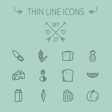 Food and drink thin line icon set for web and mobile. Set includes- fresh milk, bread, cheese, squid, carrots, pineapple, beer, melon icons. Modern minimalistic flat design. Vector dark grey icon on grey background.
