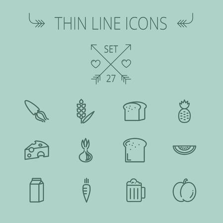 Nourriture et boissons mince jeu d'icônes de ligne pour le Web et mobile. Réglez comprend-lait frais, pain, fromage, calmars, les carottes, l'ananas, de la bière, des icônes de melon. Design plat moderne et minimaliste. Vecteur gris foncé icône sur fond gris. Banque d'images - 43399186