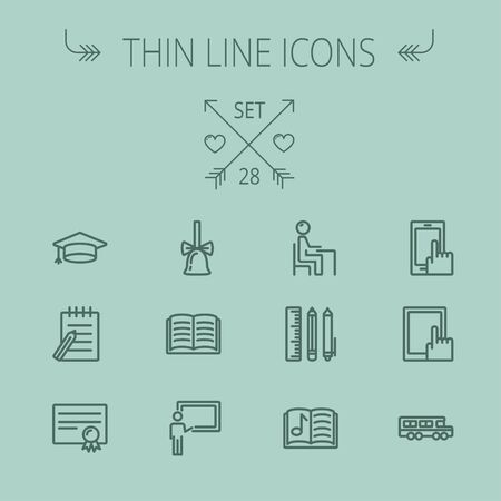 Education thin line icon set for web and mobile. Set includes- graduation cap, bell, notepad, bus, certificate, tablet, blackboard, books, workplace icons. Modern minimalistic flat design. Vector dark grey icon on grey background. Illustration