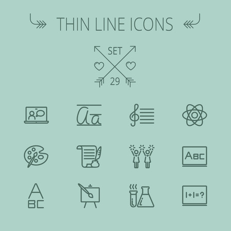 math icon: Education thin line icon set for web and mobile. Set includes- alphabet, music note, paint, cheering, math, painting atom icons. Modern minimalistic flat design. Vector dark grey icon on grey background.