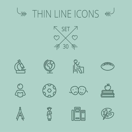 pallette: Education thin line icon set for web and mobile. Set includes- global, books, compass, pallette, balls, two heads, reading icons. Modern minimalistic flat design. Vector dark grey icon on grey background.