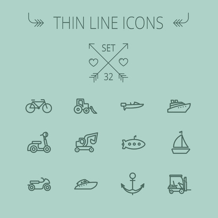 transportation icons: Transportation thin line icon set for web and mobile. Set includes- golf cart, trucks, motor, boat, submarine, anchor, scooter icons. Modern minimalistic flat design. Vector dark grey icon on grey background.