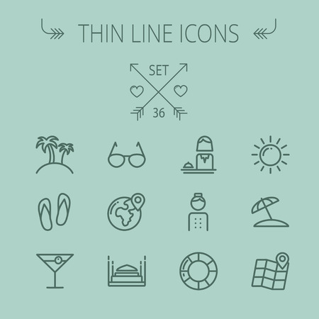 vactor: Travel thin line icon set for web and mobile. Set includes- sunglass, palm tree, wine, slippers, beach umbrella,map pointer icons. Modern minimalistic flat design. Vector dark grey icon on grey background.