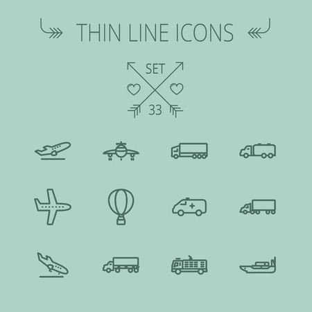 Transportation thin line icon set for web and mobile. Set includes- fire truck, trucks, plane, ships, hot air balloon icons. Modern minimalistic flat design. Vector dark grey icon on grey background.