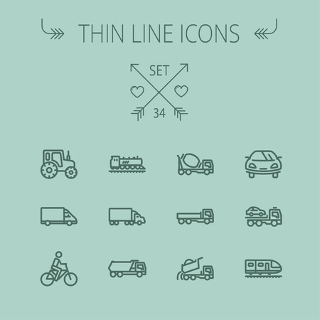 grey line: Transportation thin line icon set for web and mobile. Set includes- sports car, trucks, vans, bicycle, towing truck, mixer truck, train, vintage car icons. Modern minimalistic flat design. Vector dark grey icon on grey background.