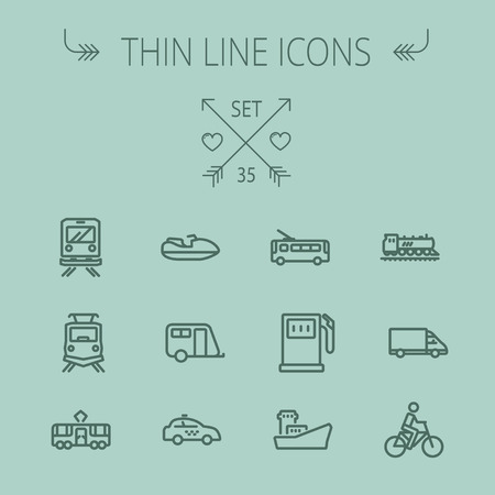 gas tank: Transportation thin line icon set for web and mobile. Set includes- yacht, train, bicycle, gas tank, ship, van, police car, boat, motor, icons. Modern minimalistic flat design. Vector dark grey icon on grey background.