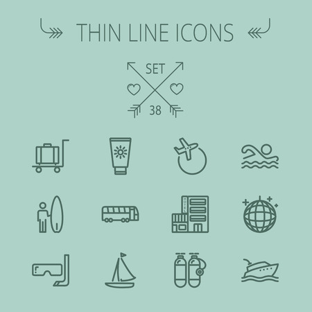 oxygen mask: Travel thin line icon set for web and mobile. Set includes- yacht, oxygen tank, snorkel with mask, luggage, hotel, sailboat, plane, wakeboard, swimming, icons. Modern minimalistic flat design. Vector dark grey icon on grey background. Illustration