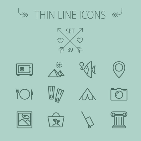 train table: Travel thin line icon set for web and mobile. Set includes- camera, picture freame, pin location, floppers, fish, bag, table setting, tent, luggage cart, icons. Modern minimalistic flat design. Vector dark grey icon on grey background. Illustration