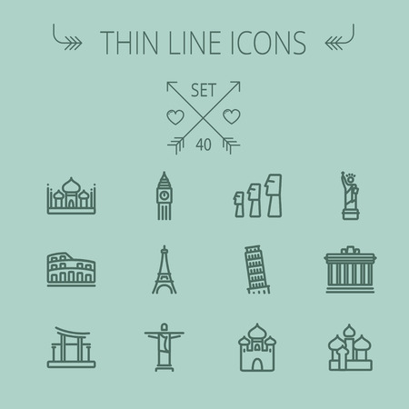 the leaning tower of pisa: Travel thin line icon set for web and mobile. Set includes- mosque, statue, tower, clock, office building, famous gate, national library, muslim community, leaning tower pisa, icons. Modern minimalistic flat design. Vector dark grey icon on grey backgroun