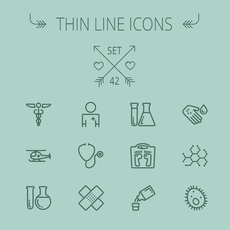 Medicine thin line icon set for web and mobile. Set includes- molecule, medicine, doctor, stethoscope, bandage, medical symbol, air ambulance icons. Modern minimalistic flat design. Vector dark grey icon on grey background. Çizim