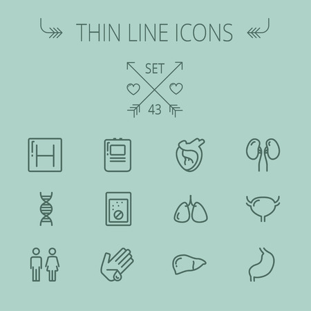 Medicine thin line icon set for web and mobile. Set includes- human internal organs, hospital, DNA icons. Modern minimalistic flat design. Vector dark grey icon on grey background. Illustration