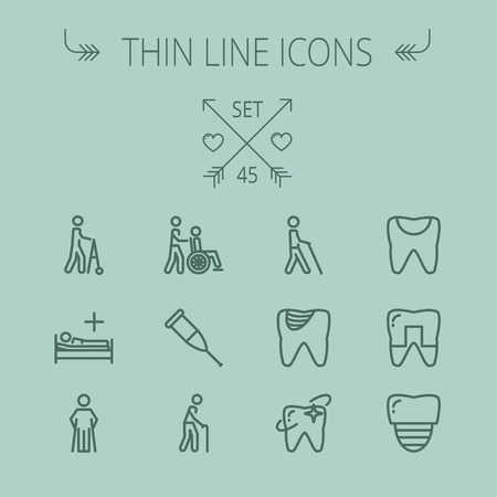 injured person: Medicine thin line icon set for web and mobile. Set includes- tooth, crutches, walker, injured person, sick person, syringe, bed, toothache, icons. Modern minimalistic flat design. Vector dark grey icon on grey background.