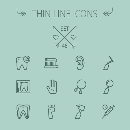 Medicine thin line icon set for web and mobile. Set includes- tooth, toothbrush, dental tools, foot, hand, syringe icons. Modern minimalistic flat design. Vector dark grey icon on grey background. Illusztráció