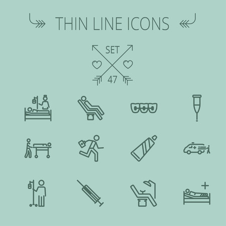 Medicine thin line icon set for web and mobile. Set includes- toothpaste, syringe, dentist chair, teeth, bed,dextrose, ambulance icons. Modern minimalistic flat design. Vector dark grey icon on grey background.