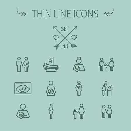 Jeu d'icônes de médecine fine ligne pour web et mobile. Ensemble comprend-infirmière, bébé, famille, enceinte, icônes de la mère. Design plat minimaliste moderne. Icône de vecteur gris foncé sur fond gris. Banque d'images - 43399249