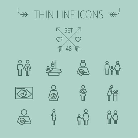 Medicine thin line icon set for web and mobile. Set includes-nurse, baby, family, pregnant, mother icons. Modern minimalistic flat design. Vector dark grey icon on grey background.