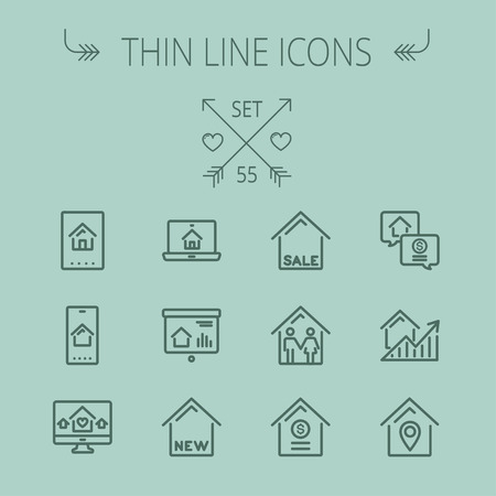 keycard: Real estate thin line icon set for web and mobile. Set includes- electronic keycard, business card, graphs, new house, couple, dollar, locator pin icons. Modern minimalistic flat design. Vector dark grey icon on grey background. Illustration