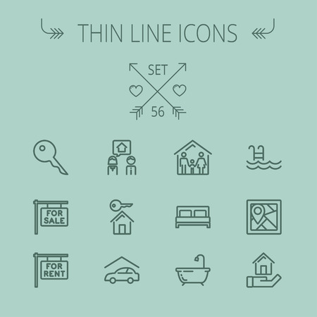 car for sale: Real estate thin line icon set for web and mobile. Set includes- key, for sale placard, house key, bed, frame, for rent placard, car garage, tub icons. Modern minimalistic flat design. Vector dark grey icon on grey background. Illustration