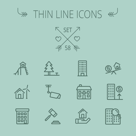 Real estate thin line icon set for web and mobile. Set includes- pine tree, antenna, gavel, playhouse, windmill, buildings icons. Modern minimalistic flat design. Vector dark grey icon on grey background. Ilustração