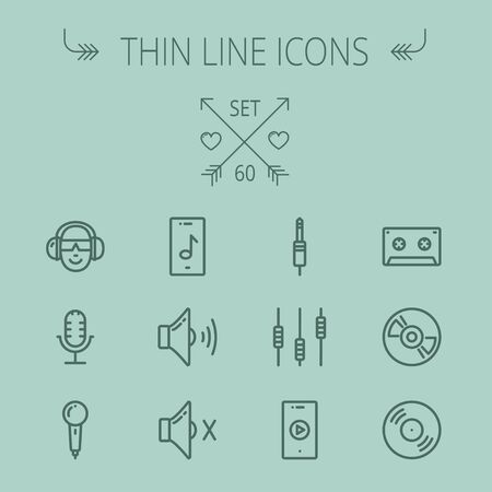 Music and entertainment thin line icon set for web and mobile. Set includes- loudspeaker, headphone, microphone retro, cassette tape, control volume, vinyl disc icons. Modern minimalistic flat design. Vector dark grey icon on  grey background.