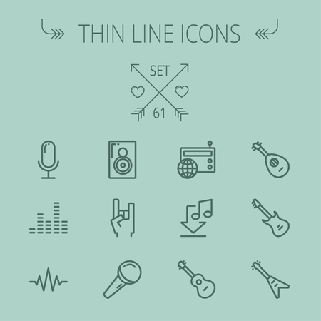 rock hand: Music and entertainment thin line icon set for web and mobile. Set includes- speaker rock hand, wireless mic, sound wave beat, equalizer, radio, download music, guitars icons. Modern minimalistic flat design. Vector dark grey icon on grey background.