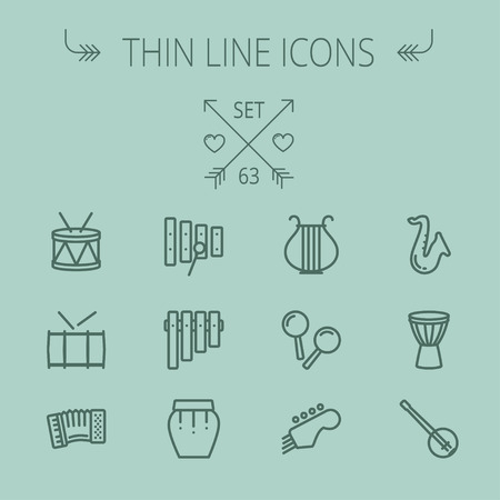 Music and entertainment thin line icon set for web and mobile. Set includes- xylophone, tuner, saxophone, banjo, maracas, organ, lyre icons. Modern minimalistic flat design. Vector dark grey icon on grey background.