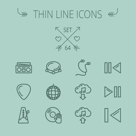 earphone: Music and entertainment thin line icon set for web and mobile. Set includes- metronome, guitar pick, upload and download, earphone, disco ball, cassette player, music button icons. Modern minimalistic flat design. Vector dark grey icon on grey background.