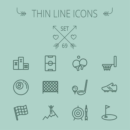 soccer shoes: Sports thin line icon set for web and mobile. Set includes- pingpong, soccer shoes, archery, billiard ball, basketball ring, golf, gym icons. Modern minimalistic flat design. Vector dark grey icon on grey background.
