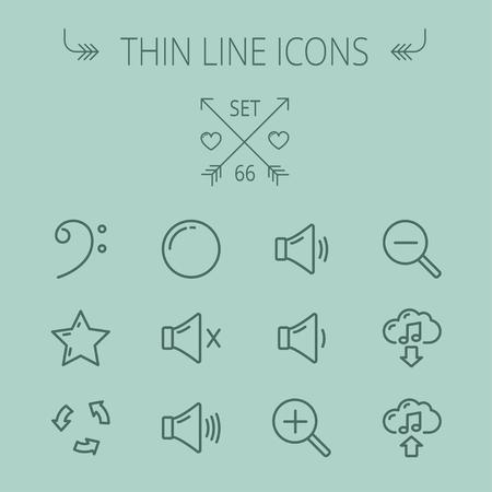 음악 및 엔터테인먼트 얇은 선 아이콘은 웹과 모바일을 설정합니다. C-음자리표, 스타, 재생, 정지, 볼륨 스피커 아이콘을 includes- 설정합니다. 현대 최