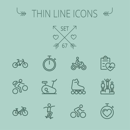 cronometro: Deportes icono de línea delgada para web y móvil. Establecer cronómetro incluye-, skatboard, bicicleta, bicicleta de montaña, moto, patín de ruedas, el corazón y el tiempo, los ganadores de los iconos. Diseño plano minimalista moderno. Vector icono de color gris oscuro sobre fondo gris.