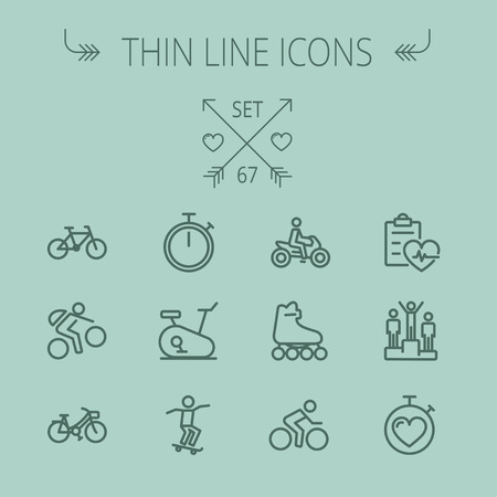 Sports thin line icon set for web and mobile. Set includes- stopwatch, skatboard, bicycle, mountain bike, motorbike, roller skate, heart and time, winners icons. Modern minimalistic flat design. Vector dark grey icon on grey background. Illustration